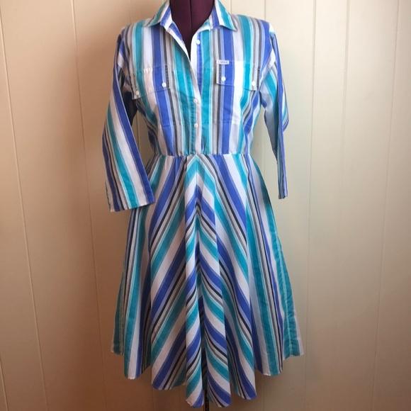 Vintage Dresses & Skirts - Vintage 70s/80s Blue White Striped Day Dress
